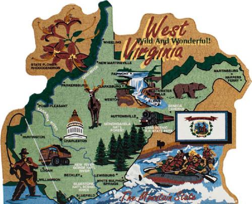 West Virginia State Map Wooden Keepsake Cats Meow VillageUSA