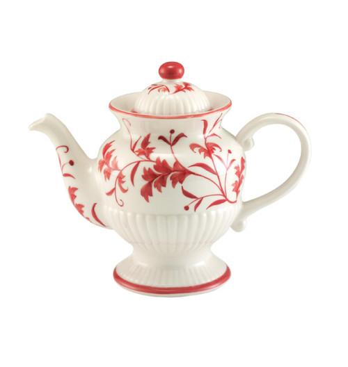 Sadek Ceramic Ribbed Red Leaf Teapot