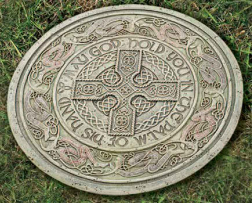 Roman joseph studio celtic garden stone may god hold you for Celtic decorations home