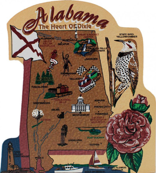 Alabama State Map Wooden Keepsake Cats Meow VillageUSA Points Of - Us map with points of interest