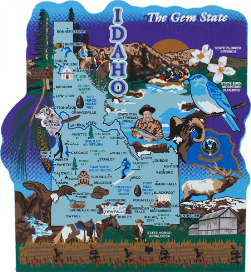 Idaho State Map Wooden Keepsake Cats Meow VillageUSA Points Of - Us map with points of interest