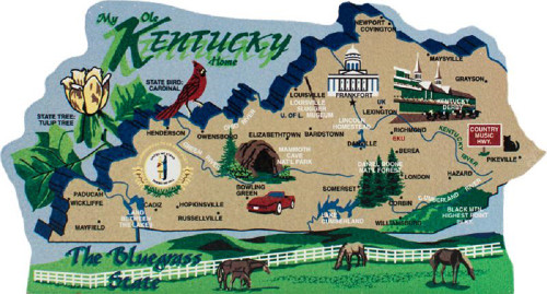 Kentucky State Map Wooden Keepsake Cats Meow VillageUSA Points - Us map with points of interest