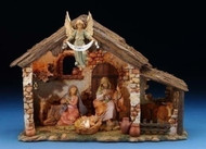 "Fontanini Nativitiy 7PC Centennial 5"" Stable & Figurines Lighted"