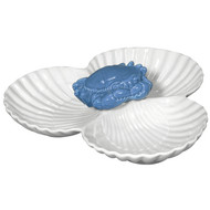 Blue Sea Crab 3-Section Shell Serving Bowl