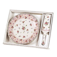 Petite Rose Cake Plate and Matching Server - Andrea by Sadek