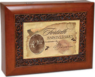 40 Anniversary Cottage Garden Ornate Woodgrain Music Jewelry Box Wonderful World
