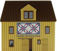Cat's Meow Village Shelf Sitter - Double Wedding Ring Quilt Barn Block #14-513