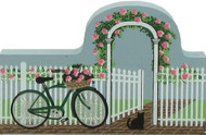 Cat's Meow Village Wooden Shelf Sitter - Fence with Bike 06-117