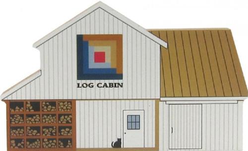 Cat's Meow Village Shelf Sitter - Log Cabin Quilt Block Barn #14-512
