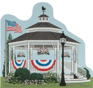 Cat's Meow Village Shelf Sitter - Summertime Gazebo American Flag #CC09