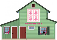 Cat's Meow Village Wooden Shelf Sitter - Sunbonnet Sue Quilt Bloc #15-511