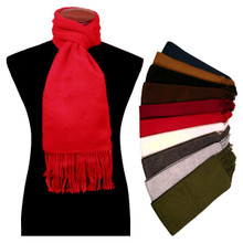 100% Alpaca Brushed Solid Color Scarf with Fringe