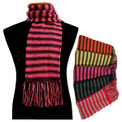 Alpaca 100%  Striped Multicolor Scarf Extra Long