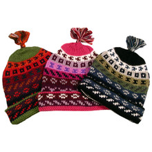 Striped/Geometric Beanie Hat Lined Adult One Size