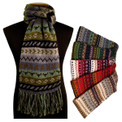 Alpaca 100% Striped/Geometric Scarf Heavy Warm Double Thickness