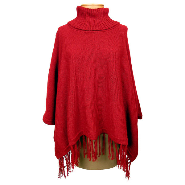 Knitting Pattern Poncho With Sleeves : Knit Turtleneck Poncho w/ sleeves Assorted Colors One Size - Sanyork Fair Trade