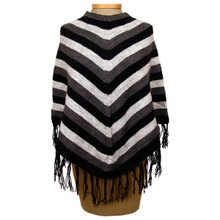 Alpaca 50% Acrylic 50% Striped Knit Poncho One Size Many Colors