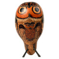 Peruvian Carved Standing Owls Gourd Natural Colors