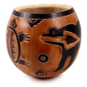 Gourd Bowl - Animal Designs Carved 5""