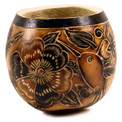 Gourd Bowl - Floral/Insect Designs Hand Carved 5""