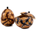 """Gourd Box - Lizard Carving 5"""" Container"""