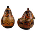 """Gourd Box - Owl Hand Carved Trinket Container 5"""""""