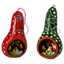 Gourd Nativity Ornament w/ Stars Colors