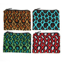 "Beaded Leopard Coin Purse - BG107-353 Leopard Design with Zipper 3.5"" x 4"""