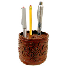 Leather Pen Holder Hand Tooled 4""