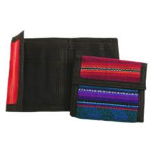 """Tri Fold Cotton Woven Wallets 4"""" x 8"""" Velcro Closure"""