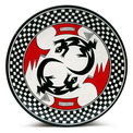 Black & White Mimbres Plate - Lizard