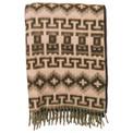 Brushed Alpaca Geometric Blanket - Brown