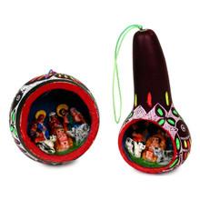 Gourd Primavera Nativity Ornament