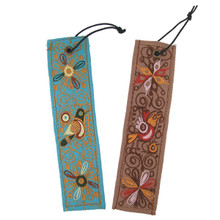"""Embroidered Bookmark Cotton & Leather Backing 2"""" x 7"""" Assorted"""