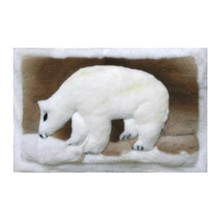 "Alpaca Fur Rug Walking Bear Design Mat 24"" x 36"" - Design 20"