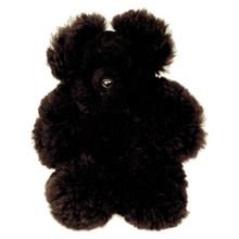 """Alpaca Solid Black Teddy Bear Natural Fur Color 15"""""""