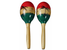 Maraca pair wooden tri color set 6""