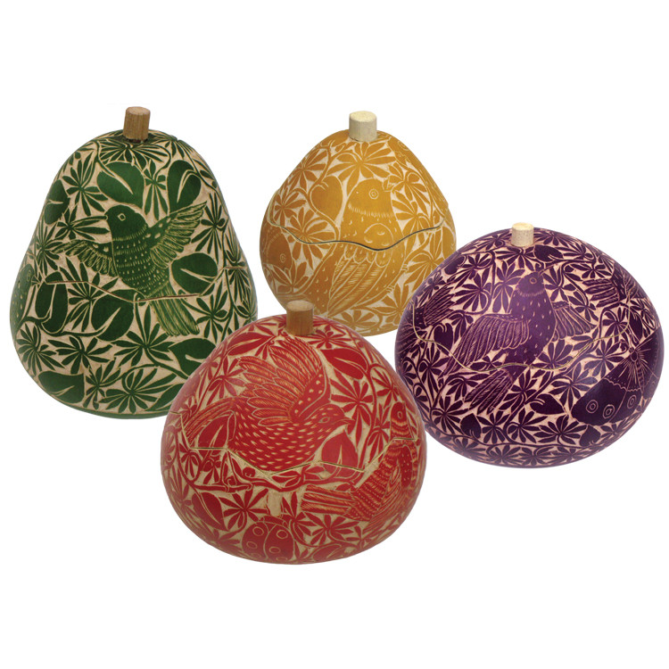 Gourd relief box fine carved quot small assorted colors