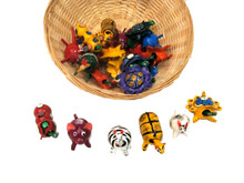 Wooden Bobble Heads Hand Painted Oaxaca Mexico Assortment 2-3""