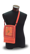 Embroidered Cotton Zippered Tablet Bag