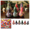 Assortment of Multicolored Floral Design Ornament Drop Shape 3""