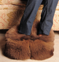 Alpaca Fur Slippers Lined Size 6-7-8-9-10-11 Natural Colors (36)