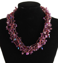 "Twelve Strand Beaded Necklace Desert Sunset Crystals Splash 19"" NE101-210"