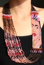 "Frida Kahlo Necklace Glass Beads Fine Strands 22"" NE710"