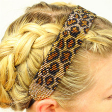 "Hand Beaded Assorted Pattern and Design Fair Trade Headband 18"" adjustable HB108"