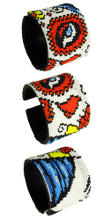 Adjustable Cuff Beaded Day of the Dead Masquerade White Beads Bracelet BR604-2