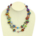 "NE506 Artisan Glass 2 Strand Beads Crystal Necklace 20"" Mayan Jewel Multicolor"