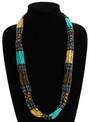Turquoise, Bronze and Gold Beads Stranded Necklace Zulu NE105-146