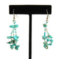 "Stones and Crystal Three Drop Solid Earrings 2"" Turquoise and Crystals"