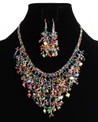 Multi-Strand Necklace and Earring Set in Multicolored Crystals, Pearls and Glass Beads